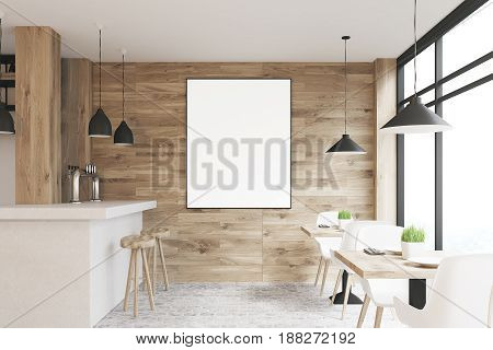 Light Wooden Bar, Tables, Poster