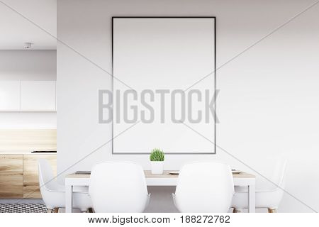 White Kitchen With Poster Close Up