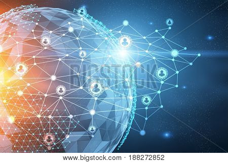 Close up of the Earth in the dark blue sky and a network sketch on top of it. Concept of globalisation. Toned image double exposure