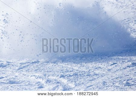 A avalanche in the mountains . A photo