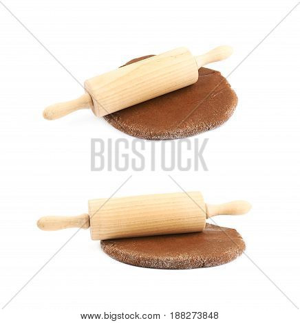 Rolled up thin layer of cookie dough with a wooden rolling pin over it, composition isolated over the white background, set of two different foreshortenings