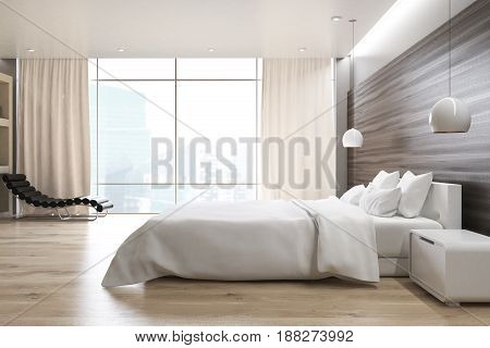 Side view of a gray wall bedroom interior with a double bed a bedside table an armchair and a large window. 3d rendering