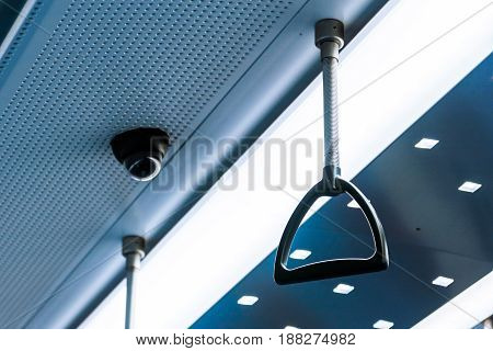 Train Interior Handle Subway Empty Grab Holding Ceiling Urban