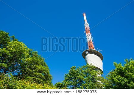 Tv Tower On Blue Sky Green Trees Sunny Summer Wireless Communication Technology Engineering Architec
