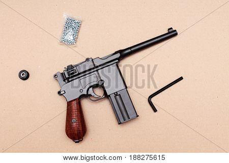 Officer's Pistol. A Pistol With A Clip. Vintage Pistol.