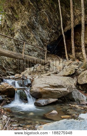 Small Waterfall In Styx Branch At Arch Rock