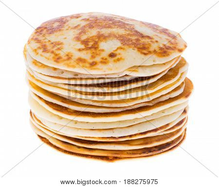 Lush and tasty pancakes isolated on white. Studio Photo