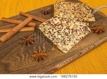 Board With Cookie. Cinnamon Sticks With Star Anise.