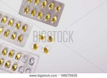 Fish Oil Capsule Isolated On White, Health Care.