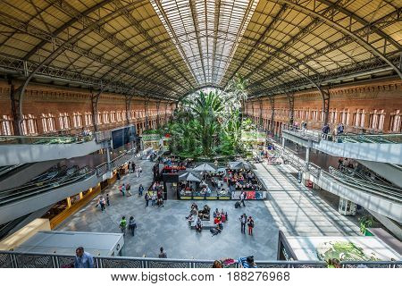 MadridSpain-May 252015: Tropical green house location in 19th century Atocha Railway Station