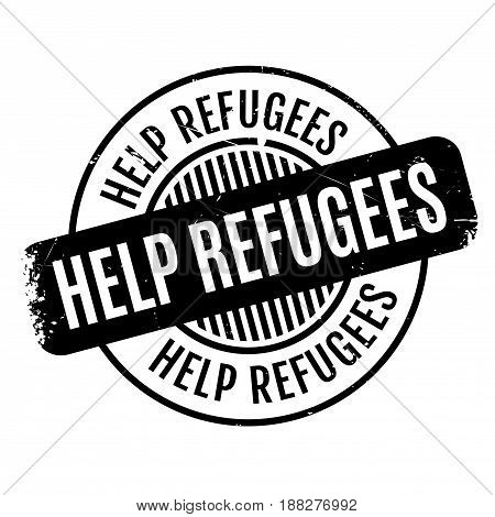 Help Refugees rubber stamp. Grunge design with dust scratches. Effects can be easily removed for a clean, crisp look. Color is easily changed.