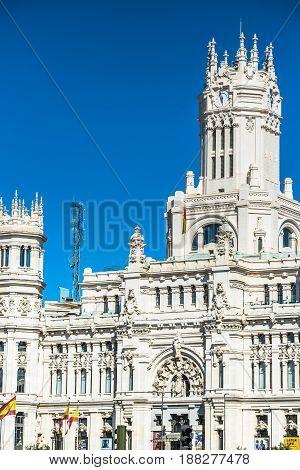 MadridSpain-May 272015: Cibeles Palace and fountain at the Plaza de Cibeles in Madrid Spain