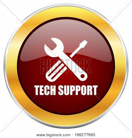 Technical support red web icon with golden border isolated on white background. Round glossy button.