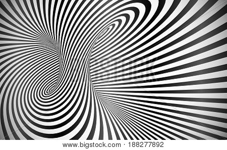 Vector twisted stripes optical illusion black and white abstract background