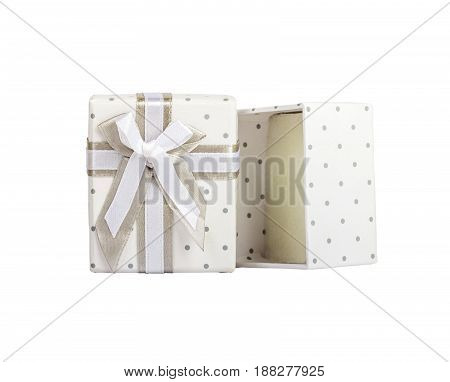 White Empty Gift Box With Small Circles Gray Fabric Tape With Gray Tie.isolated White.