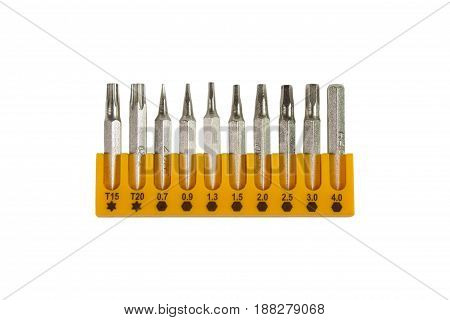 Sets of screwdriver bits isolated on white background