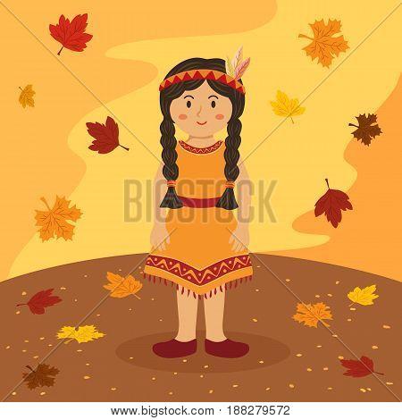Thanksgiving Indian Braid Girl Native American Cartoon Vector Illustration greeting card on autumn background.