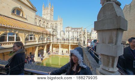 ROMAN BATHS UK- APRIL 8: many tourists visits Roman Baths in summer on April 8 2017 which are one of the finest historic sites in Northern Europe found by the romans built by Celts and dedicated to goddess Sulis
