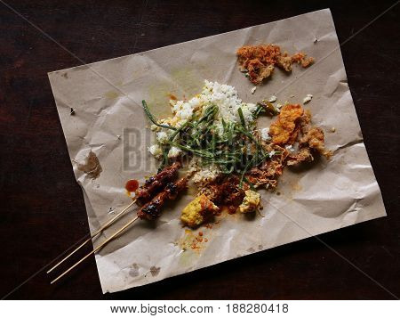 Nasi Campur, a balinese rice dish, street food version