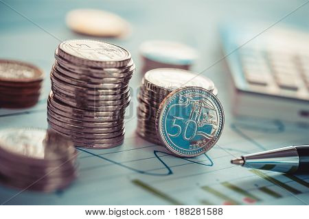 Financial business concept with coins and business chart and calculator