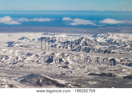 Beautiful winter season mountain view in Iceland natural landscape background