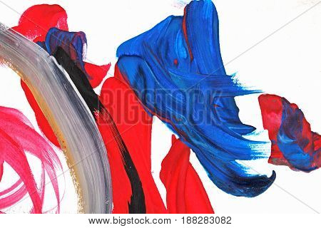 Abstraction of oil paints on canvas. Avant-garde art. Contemporary art. Riot of color.