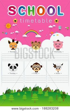 background frame design of School Timetable with animal head ScheduleWeekly school timetable vector illustration