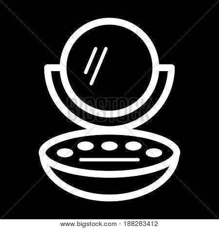 Woman compact powder vector icon. White Cosmetic powder with mirror illustration on black background. Outline linear beauty icon. eps 10