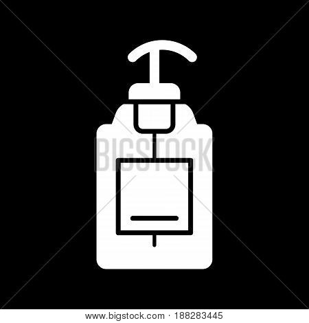liquid Soap vector icon. Black soap illustration on white background. Solid linear body care icon. Eps 10