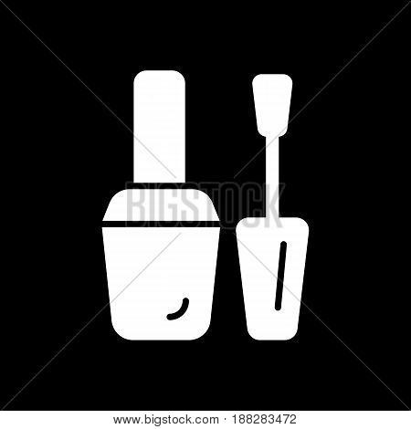 nail polish vector icon. White illustration on black background. Solid linear beauty icon. eps 10