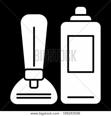 Shaving foam and razor vector icon. White shaving tools illustration on black background. Solid linear icon. eps 10