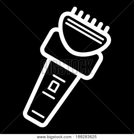 Electric razor vector icon. White razor illustration on black background. Outline linear icon. eps 10