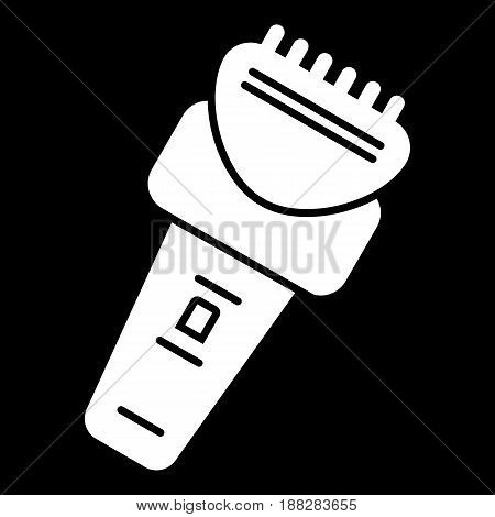 Electric razor vector icon. White razor illustration on black background. Solid linear icon. eps 10