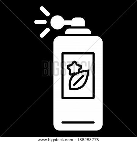 parfume vector icon. White body spray illustration on black background. Solid linear beauty and care icon. eps 10