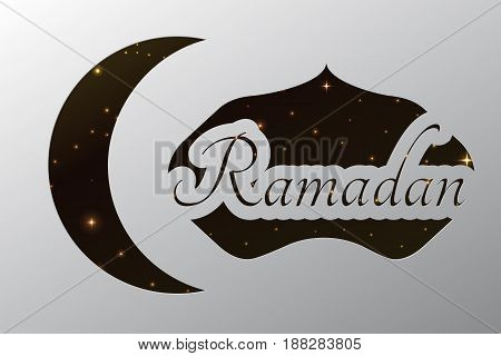 Ramadan crescent paper template with night sky. vector background