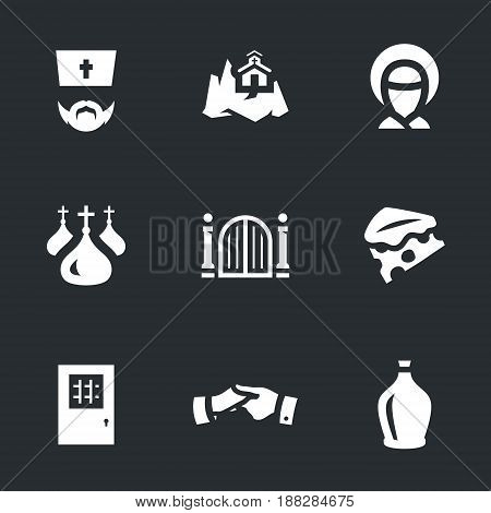 Priest, mountain, icon, domes, gate, cheese, cell, help, wine.