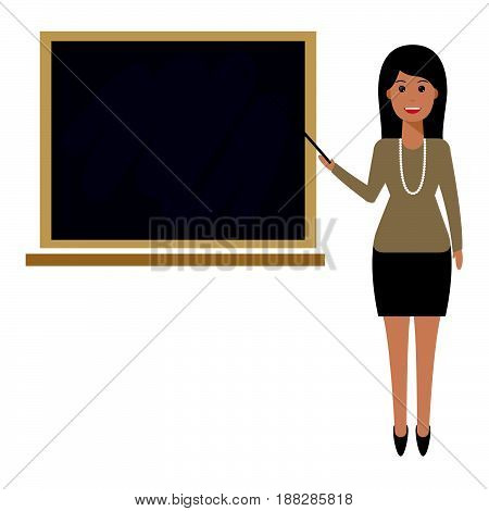 Teacher with pointer showing on board. Young female teacher professor standing in front of blackboard teaching student in classroom at school college or university.