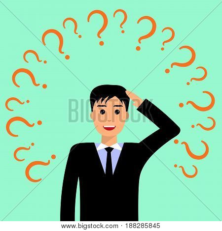 Thinking and smiling businessman surrounded by question marks. Businessman thinking about business idea. Business idea concept. Flat design illustration isolated.