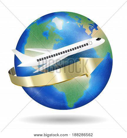 White airplane to travel around the world