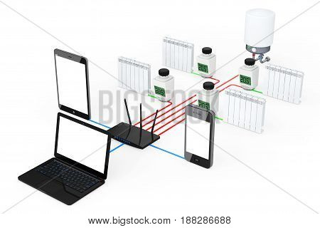 Home Climate Control System Wireless Controlled by Laptop Tablet PC and Mobile Phone on a white background. 3d Rendering.
