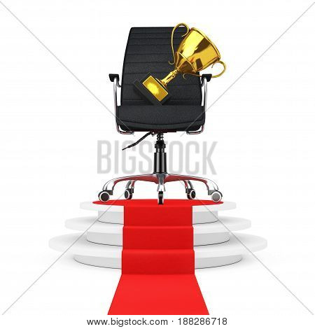 Black Leather Boss Office Chair with Golden Trophy over Round White Pedestal with Steps and a Red Carpet on a white backgroundl. 3d Rendering.