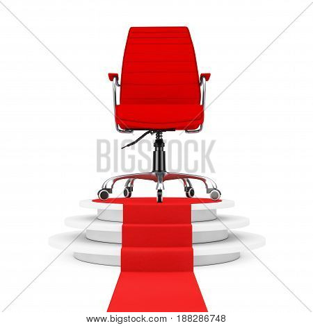 Red Leather Boss Office Chair over Round White Pedestal with Steps and a Red Carpet on a white backgroundl. 3d Rendering.