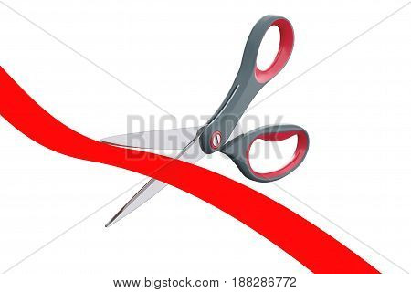 Scissors Cutting Red Ribbon on a white background. 3d Rendering.