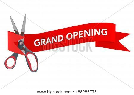 Scissorsin front of Red Ribbon with Grand Opening Sign on a white background. 3d Rendering.