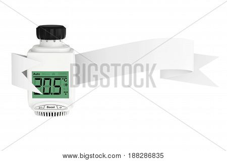 Digital Wireless Radiator Thermostatic Valve with Ribbon Banner on a white background. 3d Rendering.