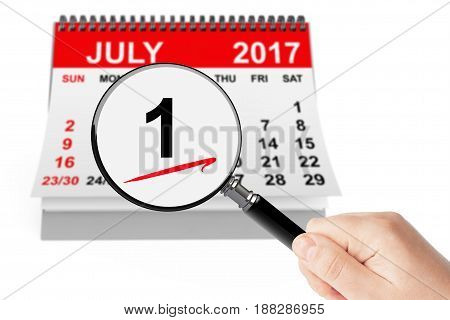 Canada Day Concept. 1 July 2017 calendar with magnifier on a white background