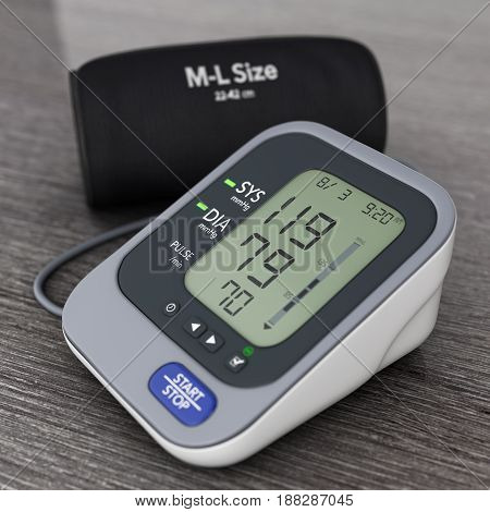 Digital Blood Pressure Monitor with Cuff on a wooden table. 3d Rendering.