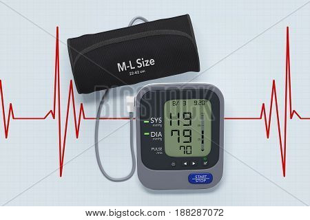 Digital Blood Pressure Monitor with Cuff on Cardiogram Background extreme closeup. 3d Rendering.