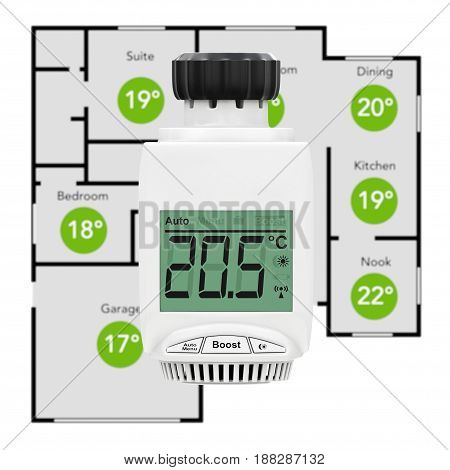 Digital Wireless Radiator Thermostatic Valve as Climate Control System with Home Plane on a white background. 3d Rendering.