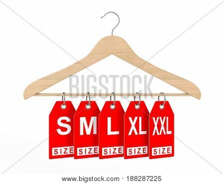 Wooden Clothes Hanger and Dress Tags with Size Sign on a white background. 3d Rendering.